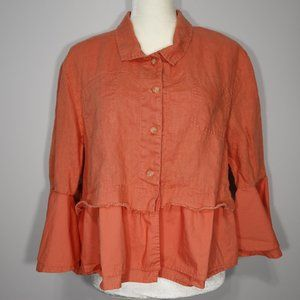 For Cynthia Coral Linen Bell Sleeve Jacket